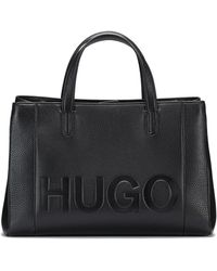 HUGO - Leather Tote Bag With Embossed Logo - Lyst