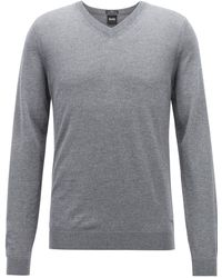 cd09b1074 BOSS Slim-fit Sweater In Cashmere Blend: 't-eleazar' in Natural for Men -  Lyst
