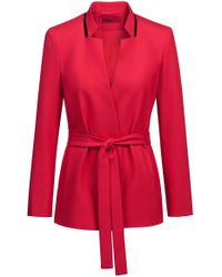 HUGO - Relaxed-fit Jacket In Stretch Crepe With Tie Waist - Lyst