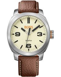 BOSS Orange - Quartz Watch With Finely Grained Leather Strap: 'cape Town' - Lyst