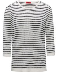 HUGO - Boat-neck Jumper In Striped Waffle Structure - Lyst