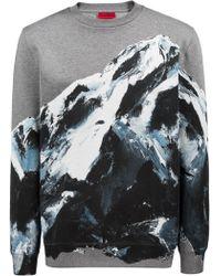 HUGO - Oversized-fit Sweatshirt In Cotton With Seasonal Mountain Graphic - Lyst