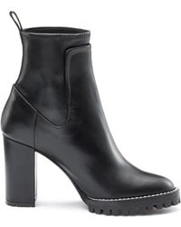 HUGO - Heeled Calf-leather Boots With Lug Sole - Lyst