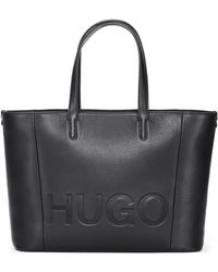 HUGO - Tote Bag In Grained Italian Leather - Lyst