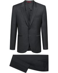 HUGO - Extra-slim-fit Three-piece Suit In Virgin Wool - Lyst