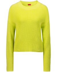 HUGO - Relaxed-fit Cropped Jumper With Contrast Side-seam Tape - Lyst