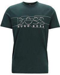 BOSS - Crew-neck T-shirt With Logo Artwork - Lyst