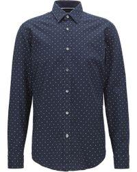 BOSS - Regular-fit Printed Dobby Cotton Shirt - Lyst