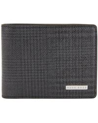 BOSS - Signature Collection Compact Billfold Wallet In Check-print Leather - Lyst