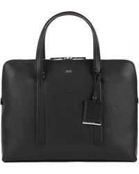 BOSS - Tote-style Briefcase In Grainy Italian Leather - Lyst