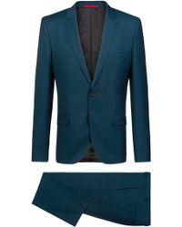 HUGO - Extra-slim-fit Suit In Melange Virgin Wool Twill - Lyst