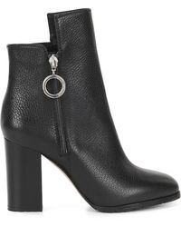 HUGO - Ring-detailed Ankle Boots In Italian Leather - Lyst