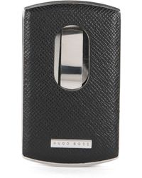 BOSS - Metal Card Case With Leather Trim: 'signature Metal_card' - Lyst