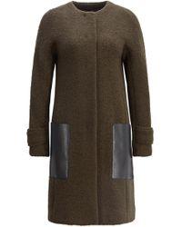 BOSS - Wool-blend Bouclé Coat With Faux-leather Patch Pockets - Lyst