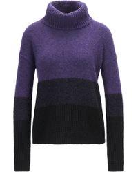 BOSS Orange - Colourblock Roll-neck Sweater In Mixed Knits - Lyst