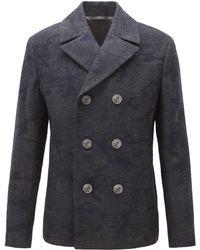 BOSS Orange - Regular-fit Pea Coat In Camouflage Jacquard - Lyst