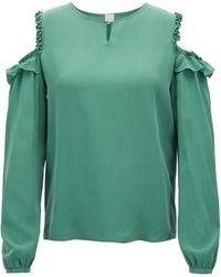 BOSS - Cold-shoulder Blouse In Pure Silk With Ruching Detail - Lyst
