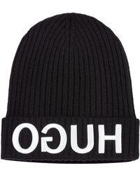 HUGO - Wool Beanie Hat With 3d Reverse-logo Embroidery - Lyst