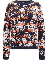 BOSS - Relaxed-fit Sweater With Jacquard-knitted Slogan - Lyst