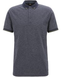 BOSS - Denim-look Polo Shirt With Contrast Details - Lyst