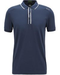 BOSS - Slim-fit Polo Shirt With Shifted Stripes - Lyst