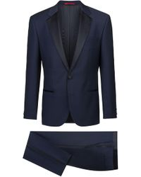HUGO - Slim-fit Micro-patterned Evening Suit With Silk Detailing - Lyst
