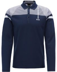 BOSS - Slim-fit Long-sleeved Polo Shirt With Striped Yoke - Lyst