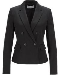 BOSS - Double-breasted Jacket In Italian Cotton Twill - Lyst
