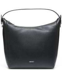 HUGO - Hobo Bag In Grained Italian Leather - Lyst