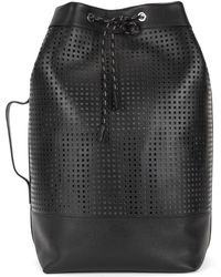 BOSS - Italian-made Backpack In Perforated Leather - Lyst