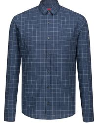 HUGO - Extra-slim-fit Checkered Shirt In Cotton-blend Bouclé - Lyst