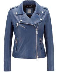 BOSS - Asymmetric Biker Jacket In Nappa Lambskin Leather With Soft Inner Lining - Lyst