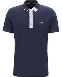 BOSS - Slim-fit Polo Shirt With Logo Placket And S.café® - Lyst