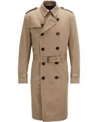 BOSS - Double-breasted Trench Coat In Water-repellent Cotton Twill - Lyst