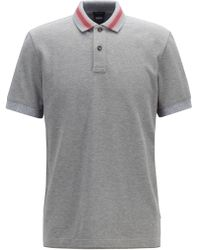 BOSS - Regular-fit Polo Shirt In Cotton With Stripe Details - Lyst