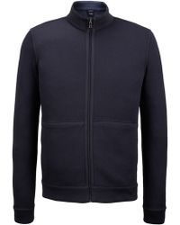 BOSS - Reversible Cotton Full-zip Sweater | Scavo - Lyst