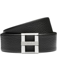 HUGO - Belt In Grained Leather With Signature Metal Buckle - Lyst