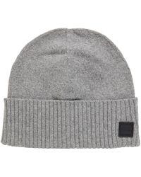 2903c3d8e1d BOSS Colour-block Beanie Hat In Virgin Wool in Natural for Men - Lyst