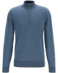 BOSS - Zip-neck Jumper In Single-jersey Cotton - Lyst