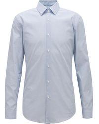 BOSS - Slim-fit Shirt In Micro-print Italian Cotton Poplin - Lyst