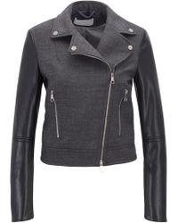 BOSS - Biker Jacket In Virgin Wool With Faux-leather Sleeves - Lyst