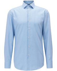 BOSS - Slim-fit Shirt In Knitted-look Cotton Piqué - Lyst