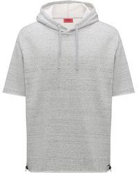 HUGO - Short-sleeved Hooded Sweatshirt With Zippered Side Seams - Lyst