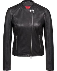 HUGO - Cropped Jacket In Lambskin With Perforated Detailing - Lyst