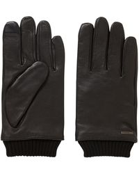 BOSS - Touchscreen Leather Gloves With Knitted Cuffs - Lyst