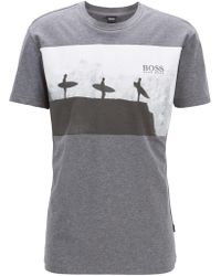 79b468d257126 BOSS - Relaxed-fit T-shirt In Melange Cotton With Beach Graphic - Lyst