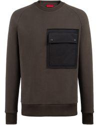 HUGO - Oversized-fit Fleece Sweatshirt With Large Chest Pocket - Lyst