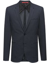 093445dc BOSS Extra-slim-fit Virgin-wool Jacket With Micro Pattern in Blue ...