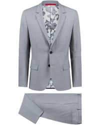 HUGO - Extra-slim-fit Virgin-wool Suit With Camouflage Lining - Lyst