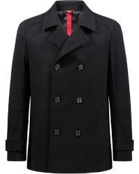HUGO - Double-breasted Jacket In A Virgin-wool Blend - Lyst